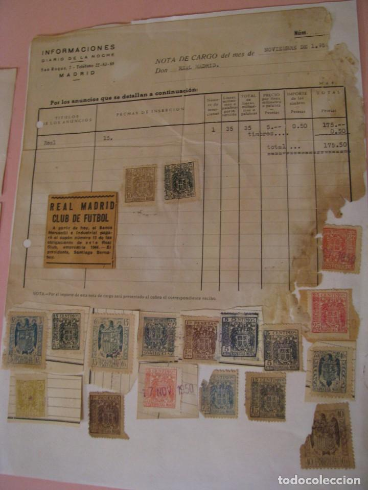 Coleccionismo deportivo: 2 DOCUMENTOS RELACIONADOS CON REAL MADRID CLUB DE FÚTBOL. 1950. LEER LA DESCRIPCION. - Foto 2 - 189963881