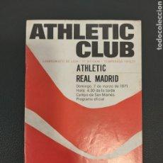 Coleccionismo deportivo: PROGRAMA ATHLETIC-REAL MADRID. Lote 191887137