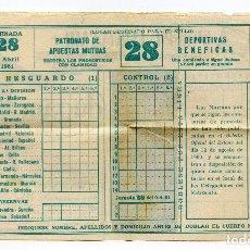 Coleccionismo deportivo: QUINIELA SIN RELLENAR DE 9 DE ABRIL DE 1961, PUBLICIDAD FLEX. Lote 191922327