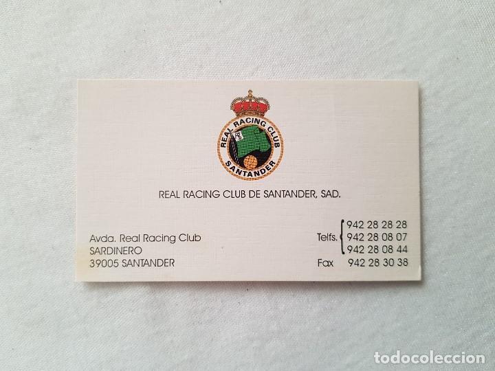 TARJETA DE VISITA REAL RACING CLUB DE SANTANDER (Coleccionismo Deportivo - Documentos de Deportes - Otros)