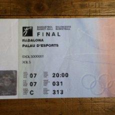 Coleccionismo deportivo: ENTRADA FINAL SIN USAR BALONCESTO BASKET OLIMPIADA BARCELONA 92.. Lote 194207261