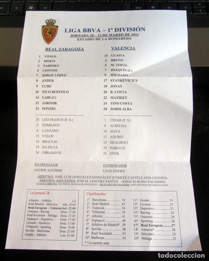 HOJA PRENSA LA ROMAREDA REAL ZARAGOZA VALENCIA CF 12 MARZO 2011 (Coleccionismo Deportivo - Documentos de Deportes - Otros)