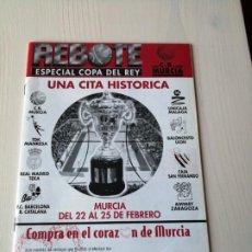 Coleccionismo deportivo: REVISTA REBOTE MURCIA ESPECIAL COPA DEL REY DE BALONCESTO ACB MURCIA 1996, CAMPEÓN TDK MANRESA. Lote 194658656
