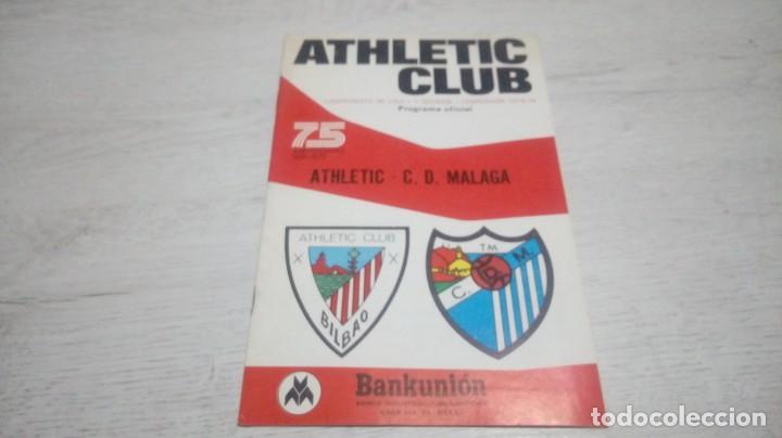PROGRAMA OFICIAL ATHLETIC CLUB DE BILBAO - C. D MALAGA TEMPORADA 73 - 74. (Coleccionismo Deportivo - Documentos de Deportes - Otros)
