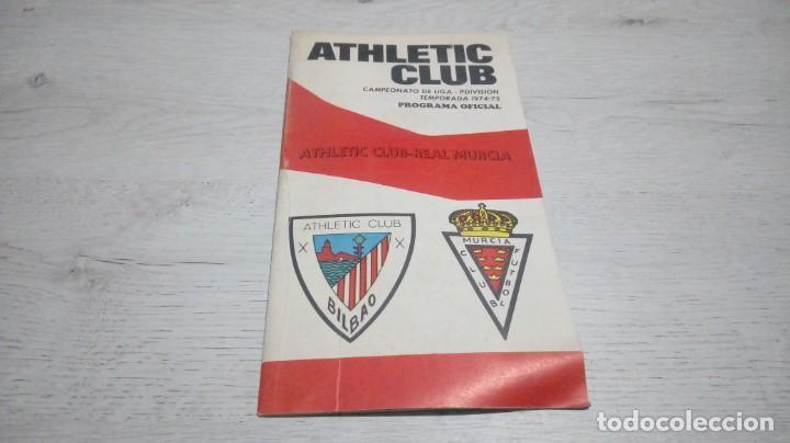 PROGRAMA OFICIAL ATHLETIC CLUB DE BILBAO - REAL MURCIA TEMPORADA 74 - 75.. (Coleccionismo Deportivo - Documentos de Deportes - Otros)