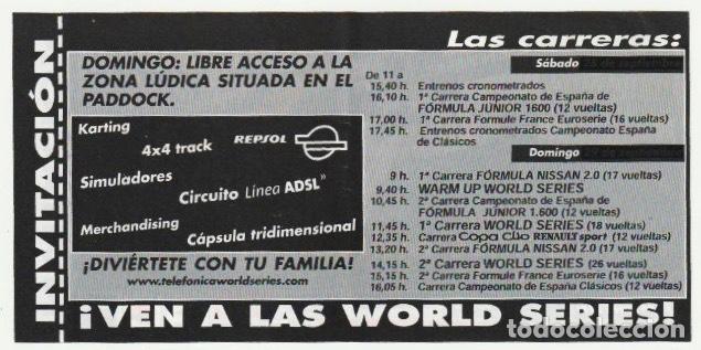 Coleccionismo deportivo: ENTRADA CIRCUITO COMUNITAT VALENCIANA SERIES MUNDIALES CON PILOTOS DE FORMULA 1 CHESTE 2002 -R-8 - Foto 2 - 194788793