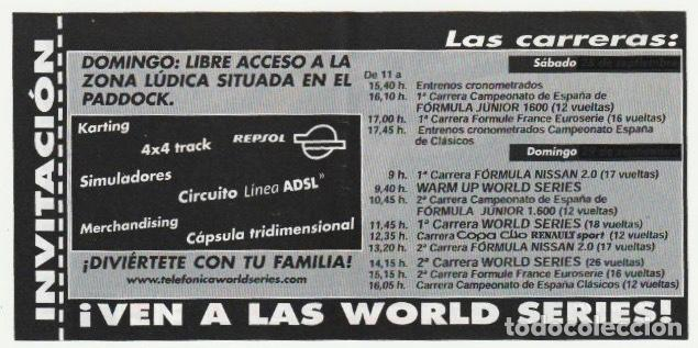 Coleccionismo deportivo: ENTRADA CIRCUITO COMUNITAT VALENCIANA SERIES MUNDIALES CON PILOTOS DE FORMULA 1 CHESTE 2002 -R-8 - Foto 2 - 194788852