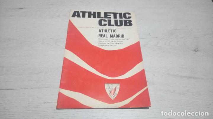 PROGRAMA OFICIAL ATHLETIC CLUB DE BILBAO - REAL MADRID TEMPORADA 70 - 71. (Coleccionismo Deportivo - Documentos de Deportes - Otros)