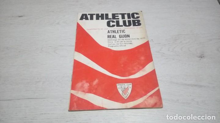 PROGRAMA OFICIAL ATHLETIC CLUB DE BILBAO - REAL GIJON TEMPORADA 70 - 71. (Coleccionismo Deportivo - Documentos de Deportes - Otros)