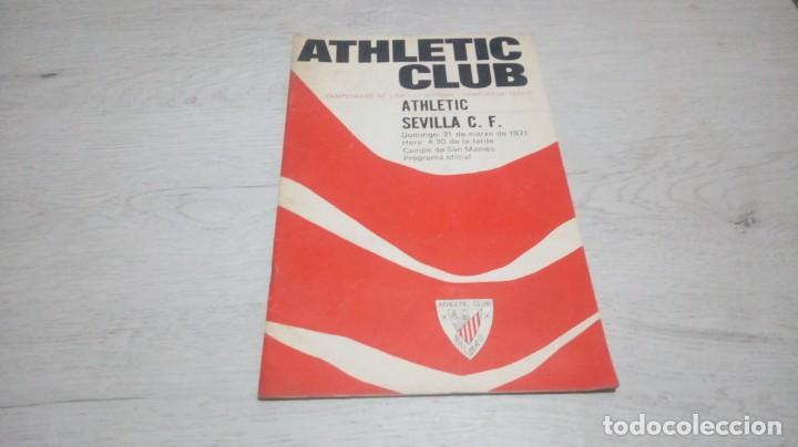 PROGRAMA OFICIAL ATHLETIC CLUB DE BILBAO - SEVILLA C. F. TEMPORADA 70 - 71. (Coleccionismo Deportivo - Documentos de Deportes - Otros)