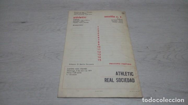 Coleccionismo deportivo: Programa oficial Athletic Club de Bilbao - Sevilla C. F. temporada 70 - 71. - Foto 2 - 194905251