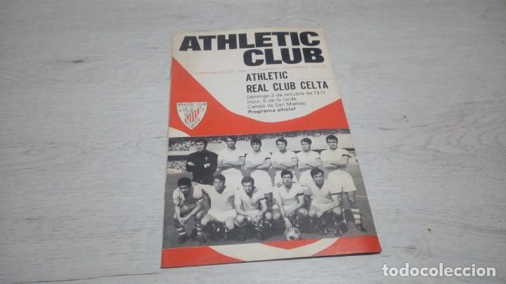 PROGRAMA OFICIAL ATHLETIC CLUB DE BILBAO - REAL CLUB CELTA. TEMPORADA 71 - 72. (Coleccionismo Deportivo - Documentos de Deportes - Otros)