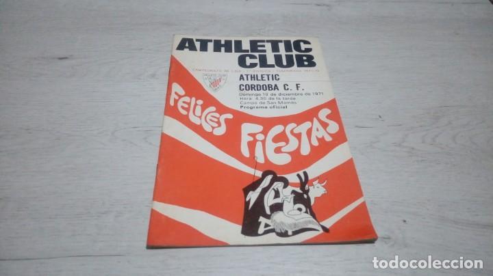 PROGRAMA OFICIAL ATHLETIC CLUB DE BILBAO - CORDOBA C. F. TEMPORADA 71 - 72. (Coleccionismo Deportivo - Documentos de Deportes - Otros)