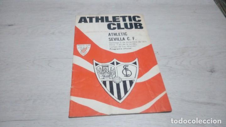 PROGRAMA OFICIAL ATHLETIC CLUB DE BILBAO - SEVILLA C. F . TEMPORADA 71 - 72. (Coleccionismo Deportivo - Documentos de Deportes - Otros)