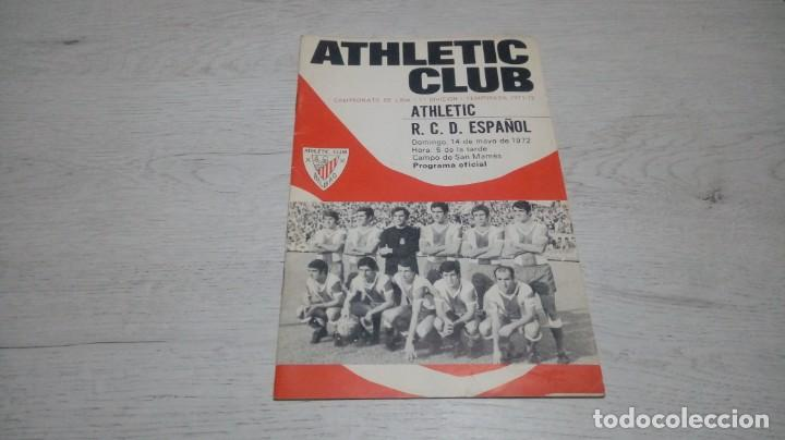 PROGRAMA OFICIAL ATHLETIC CLUB DE BILBAO - R. C. ESPAÑOL. TEMPORADA 71 - 72. (Coleccionismo Deportivo - Documentos de Deportes - Otros)
