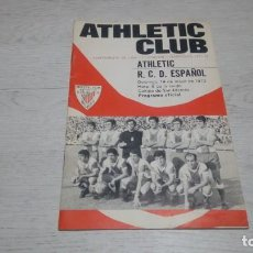 Coleccionismo deportivo: PROGRAMA OFICIAL ATHLETIC CLUB DE BILBAO - R. C. ESPAÑOL. TEMPORADA 71 - 72.. Lote 194905933