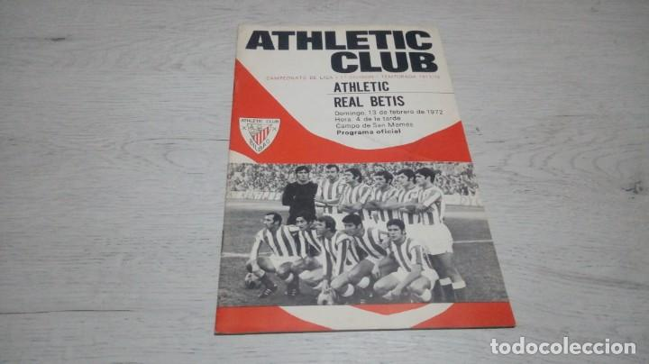 PROGRAMA OFICIAL ATHLETIC CLUB DE BILBAO - REAL BETIS. TEMPORADA 71 - 72. (Coleccionismo Deportivo - Documentos de Deportes - Otros)