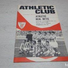 Coleccionismo deportivo: PROGRAMA OFICIAL ATHLETIC CLUB DE BILBAO - REAL BETIS. TEMPORADA 71 - 72.. Lote 194906007