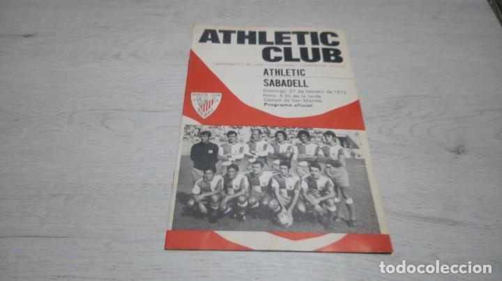 PROGRAMA OFICIAL ATHLETIC CLUB DE BILBAO - SABADELL. TEMPORADA 71 - 72. (Coleccionismo Deportivo - Documentos de Deportes - Otros)