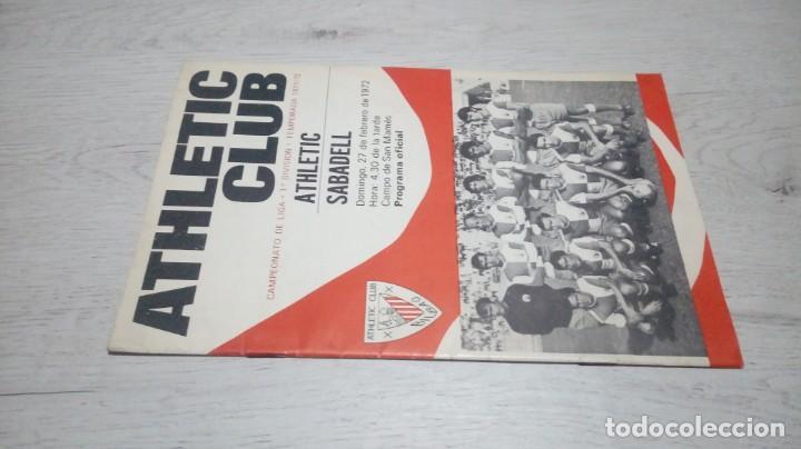 Coleccionismo deportivo: Programa oficial Athletic Club de Bilbao - Sabadell. Temporada 71 - 72. - Foto 4 - 194906071