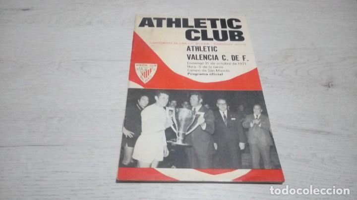 PROGRAMA OFICIAL ATHLETIC CLUB DE BILBAO - VALENCIA C. DE F. TEMPORADA 71 - 72. (Coleccionismo Deportivo - Documentos de Deportes - Otros)