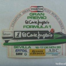 Coleccionismo deportivo: PEGATINA PUBLICITARIA DE EL CORTE INGLES : GRAN PREMIO DE FORMULA 1 , CHAMPION, ETC. 1985. Lote 195003080