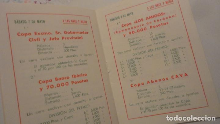 Coleccionismo deportivo: FEDERACION SOCIEDADES TIRO DE PICHON ESPAÑA.PROGRAMA TIRADAS OFICIALES.CORDOBA 1960 - Foto 4 - 195191771