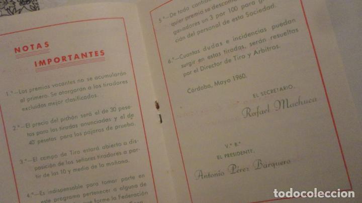 Coleccionismo deportivo: FEDERACION SOCIEDADES TIRO DE PICHON ESPAÑA.PROGRAMA TIRADAS OFICIALES.CORDOBA 1960 - Foto 5 - 195191771