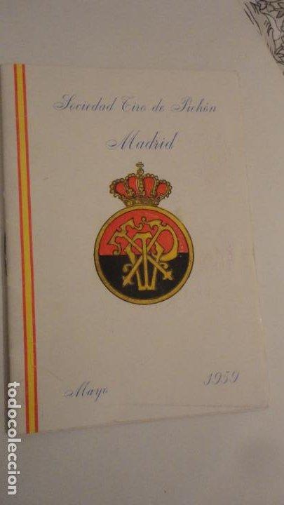 SOCIEDAD TIRO DE PICHON.PROGRAMA TIRADAS EXTRAORDINARIAS.MADRID 1959 (Coleccionismo Deportivo - Documentos de Deportes - Otros)