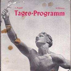 Coleccionismo deportivo: PROGRAMA OFICIAL XI OLIMPIADA DE BERLIN 1936 DIA 9 AGOSTO 1936. Lote 195301606
