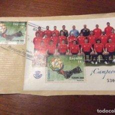 Coleccionismo deportivo: SOBRE Y SELLOS CAMPEONES EUROPA 2008. Lote 195325070