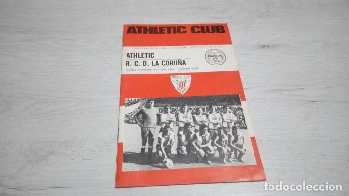 PROGRAMA OFICIAL ATHLETIC CLUB DE BILBAO - R. C. D. LA CORUÑA TEMPORADA 72- 73. (Coleccionismo Deportivo - Documentos de Deportes - Otros)