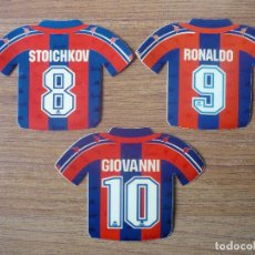 Coleccionismo deportivo: LOTE 3 PEGATINAS CAMISETAS BARCELONA KAPPA STOICHKOV RONALDO GIOVANNII 1996 - ADHESIVOS 96 97 BARÇA. Lote 195422196