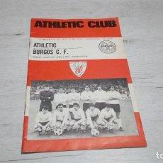 Coleccionismo deportivo: PROGRAMA OFICIAL ATHLETIC CLUB DE BILBAO - BURGOS C. F. TEMPORADA 72 - 73.. Lote 195429996