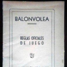 Coleccionismo deportivo: BALONVOLEA - REGLAS OFICIALES DE JUEGO - FEDERACIÓN ESPAÑOLA DE BALONCESTO 1957. Lote 195485873