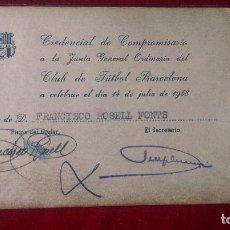 Coleccionismo deportivo: AB.- 918.- CLUB DE FUTBOL BARCELONA-- CREDENCIAL DE COMPROMISARIO AÑO 1958.- VER FOTOS . Lote 195547310