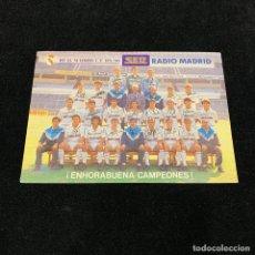 Coleccionismo deportivo: TARJETA REAL MADRID TEMPORADA 1989 1990 ¡ ENHORABUENA CAMPEONES ! AUTOGRAFOS IMPRESOS. Lote 196142365