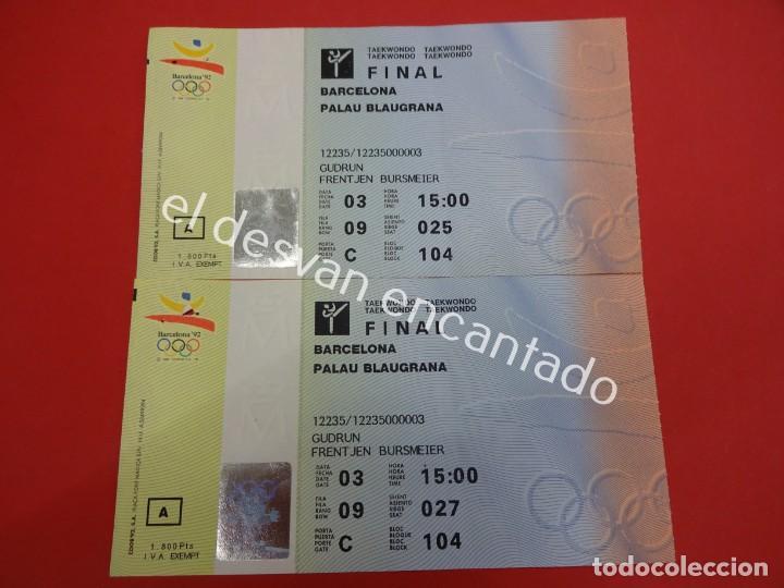 LOTE 2 ENTRADAS CORRELATIVAS JJOO BARCELONA 92. FINAL TAEKWONDO (Coleccionismo Deportivo - Documentos de Deportes - Otros)