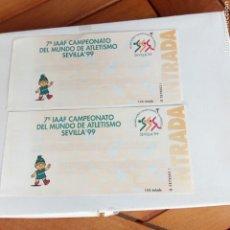 Coleccionismo deportivo: LOTE 2 ENTRADAS CAMPEONATO DEL MUNDO DE ATLETISMO SEVILLA 1999. LA TINTA DIFUMINADA Y APENAS SE VE.. Lote 197210890