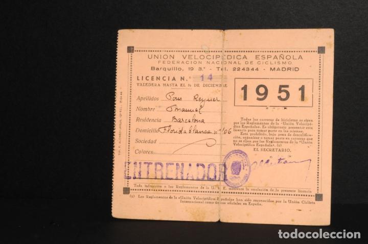 Coleccionismo deportivo: LICENCIA FEDERACIÓN NACIONAL DE CICLISMO - UNION VELOCIPEDICA ESPAÑOLA - AÑO 1951 - Foto 2 - 197804317