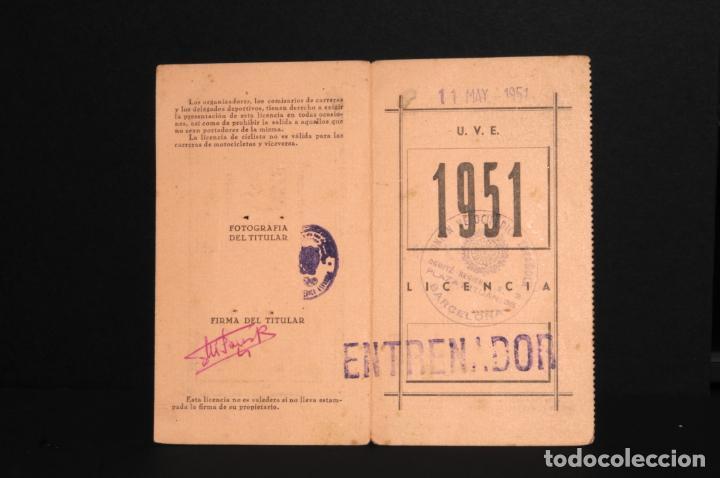 LICENCIA FEDERACIÓN NACIONAL DE CICLISMO - UNION VELOCIPEDICA ESPAÑOLA - AÑO 1951 (Coleccionismo Deportivo - Documentos de Deportes - Otros)
