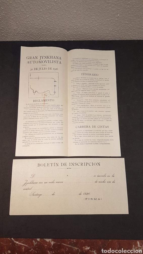 Coleccionismo deportivo: AÑO SANTO SANTIAGO DE COMPOSTELA 1926. INSCRIPCIÓN GYMKHANA AUTOMOVILISTICA Y CARRERA DE CINTAS. - Foto 2 - 198160691
