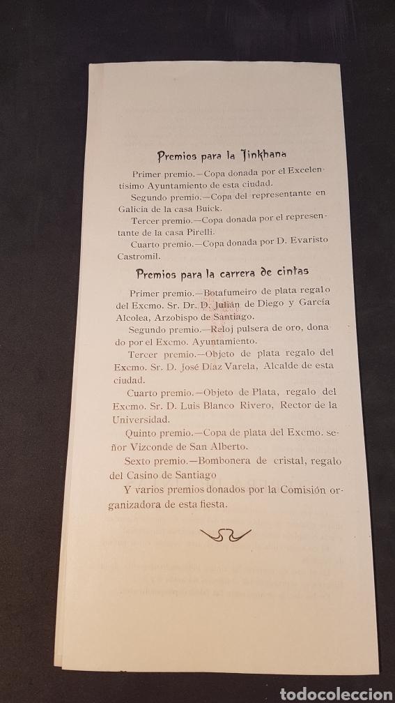Coleccionismo deportivo: AÑO SANTO SANTIAGO DE COMPOSTELA 1926. INSCRIPCIÓN GYMKHANA AUTOMOVILISTICA Y CARRERA DE CINTAS. - Foto 3 - 198160691