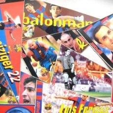 Coleccionismo deportivo: LOTE 20 PEGATINAS BANDERIN JUGADORES DIFERENTES FC BARCELONA TAMAÑO 30 X 15 SPORT ADHESIVO. Lote 198407327