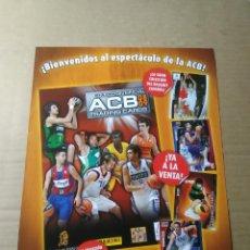 Coleccionismo deportivo: HOJA PUBLICIDAD BALONCESTO BASKET - COLECCIÓN OFICIAL TRADING CARDS ACB 08-09 LIGA 2008-2009 PANINI. Lote 199840837