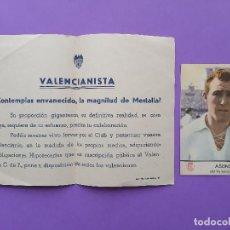 Coleccionismo deportivo: PUBLICIDAD VALENCIANISTA VALENCIA CLUB FUTBOL MESTALLA JUGADOR ASENSI CROMO CASTELLBLANCH. Lote 200140073