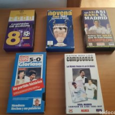 Coleccionismo deportivo: LOTE 5 VHS FÚTBOL REAL MADRID CAMPEON DE EUROPA CHAMPIONS 1995 1996 1996 1997 2000 2002 MARCA AS. Lote 201591290