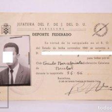 Coleccionismo deportivo: ANTIGUO CARNET DE DEPORTISTA FEDERADO - BÉISBOL / BASEBALLA, CÍRCULO BARCELONISTA - AÑOS 50. Lote 204244896