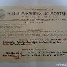 Coleccionismo deportivo: CARTEL DE ACTIVIDADES DEL CLUB MIRANDES DE MONTAÑA. RARO. AÑOS 70-80. Lote 205390475