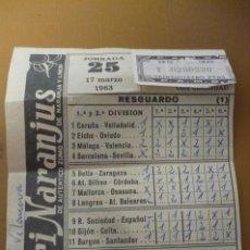 Coleccionismo deportivo: QUINIELA JORNADA 25 AÑO 1963. Lote 205657801